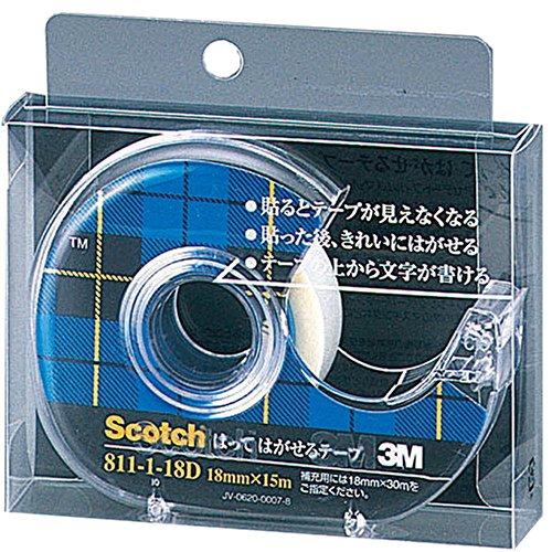 3M スコッチ はってはがせるテープ ディスペンサー付き 18mm×15m 小巻 811-1-18D