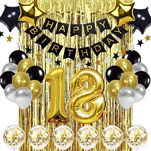 Globo de pancartas de decoraciones de 18 años de oro y negro, pancarta de feliz cumpleaños, globos de oro número 18, globos de cumpleaños número 18, suministros de decoración de cumpleaños de 18 años