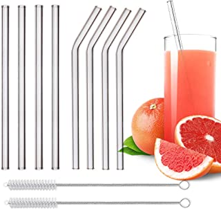 KATELUO Glassugrör, set med 8 handgjorda sugrör i glas med 2 rengöringsborstar – hälsosama, miljövänliga, BPA-fria (230 x ...