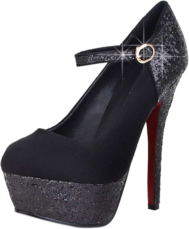 Vitalo Womens Glitter Mary Jane High Heels Stiletto Pumps Platform Court shoes Ankle Strap