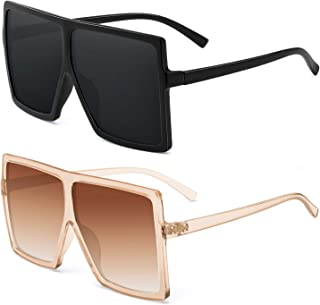 Square Oversized Sunglasses For Women - FEIDU Trendy Fashion Sunglasses For Women Men Celebrity/Flat Top Shades 2020 Update