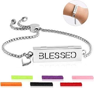 ttstar Essential Oil Diffuser Bracelet - Adjustable Slide Healing Bracelet with 316L Stainless Steel Locket Aromatherapy Bracelet for Women