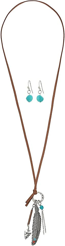 Feather with Turquoise Necklace/Earrings Set