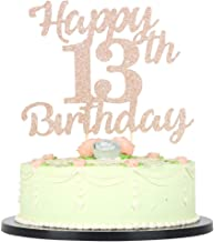 LVEUD 13th Birthday Cake Topper for Happy Birthday 13 Rose Gold 13th Cake Topper,Happy Birthday Cake Topper Cake Ornament (13th)
