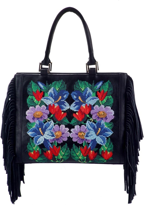 Liza Panait Leather and Fabric Handbag