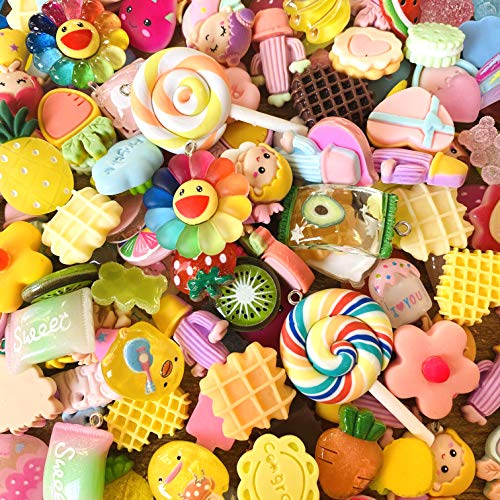 50 Pieces of Slime Charm Cute Set Resin Charm Mixed Assorted Candies Candy Resin Flat Back Slime Beads Making Supplies for DIY Craft Making and Decoration Scrapbook