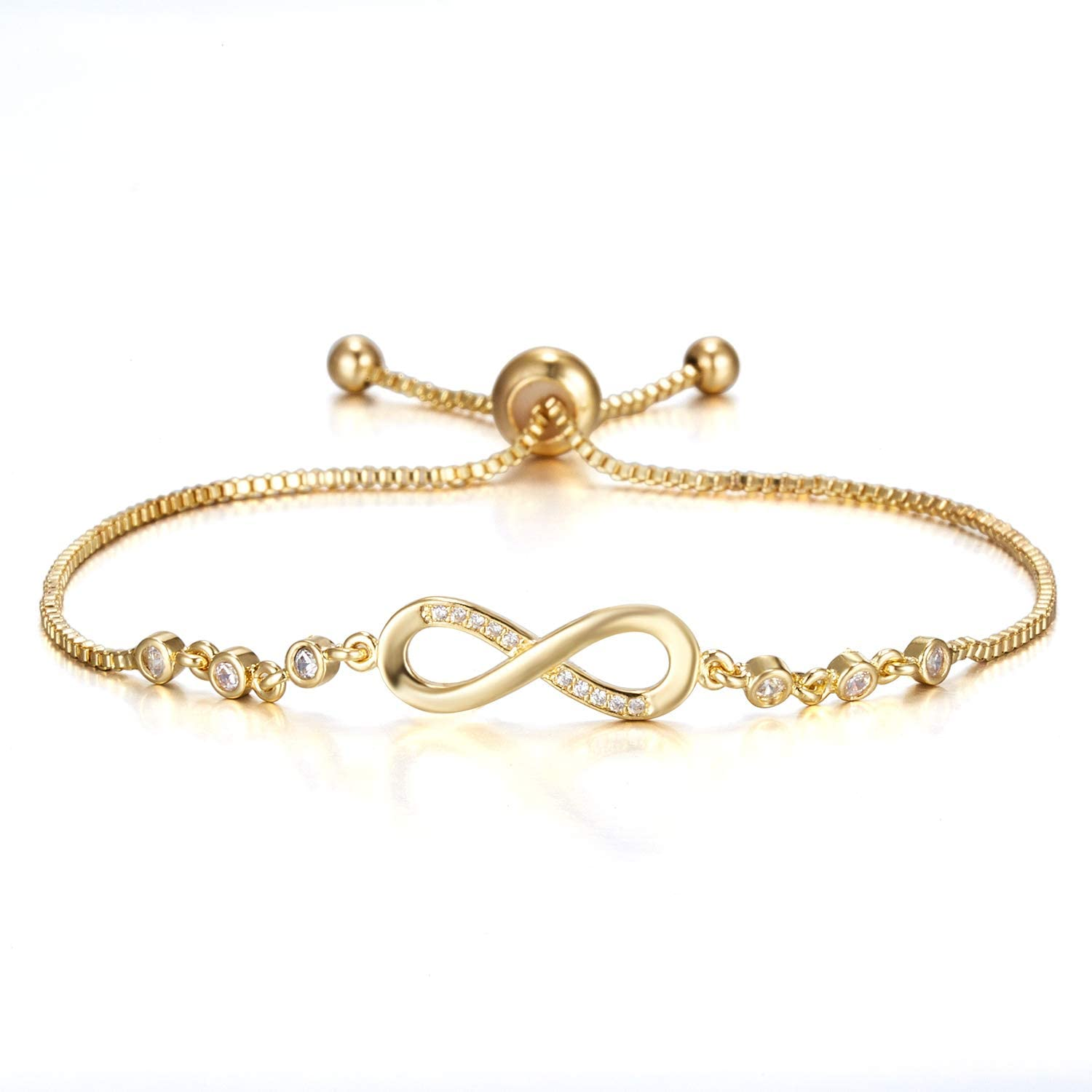 Tulsa Mall BELLA-Bee Infinity Outlet SALE Couple Bracelet 14K Endless Gold Love Plated