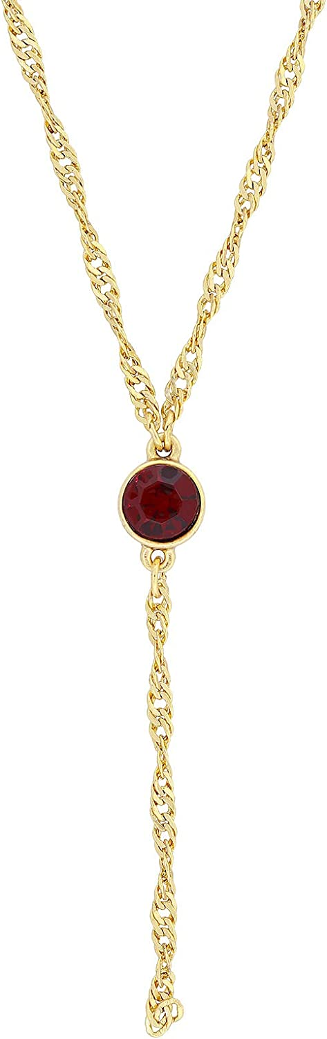 1928 Jewelry Gold Tone Red Crystal Y Necklace Chain 16 Inch Adjustable