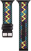 Smarmate Nylon Embroidery Multicolor Irregular Pattern Leather Band and TPU Protective Bumper Case Compatible with 42mm Apple Watch Series 3, 2, 1 (Freestyle 2)