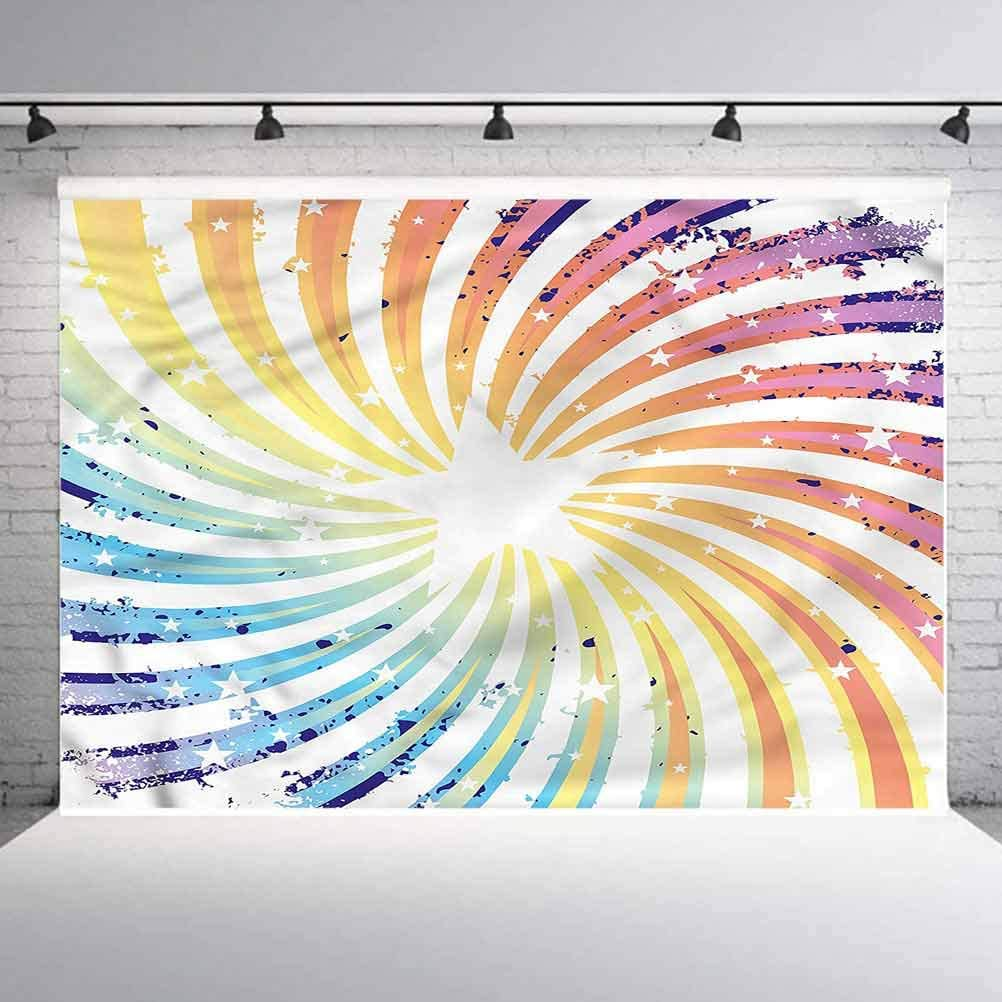8x8FT Vinyl Backdrop Photographer,Outer Space,Spiral Starburst Design Background for Baby Birthday Party Wedding Graduation Home Decoration