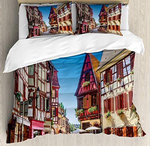 ABAKUHAUS Stad Oude Huizen Dekbedovertrekset, Colmar Frankrijk Town, Decoratieve 3-delige Bedset met 2 Sierslopen, 230 cm x 220 cm, Veelkleurig