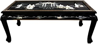 Oriental Furniture Claw Foot Coffee Table - Black Mother of Pearl Ladies