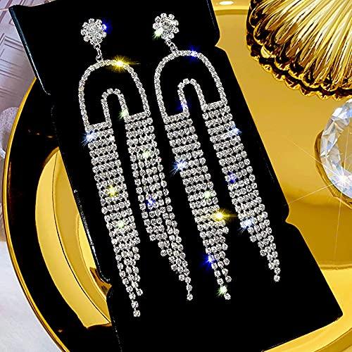 S925 Pendientes De Diamantes Llenos De Lujo Con Luz De Aguja De Plata Pendientes De Borla Largos Retro Pendientes De Personalidad Exagerada 1691-aguja de plata