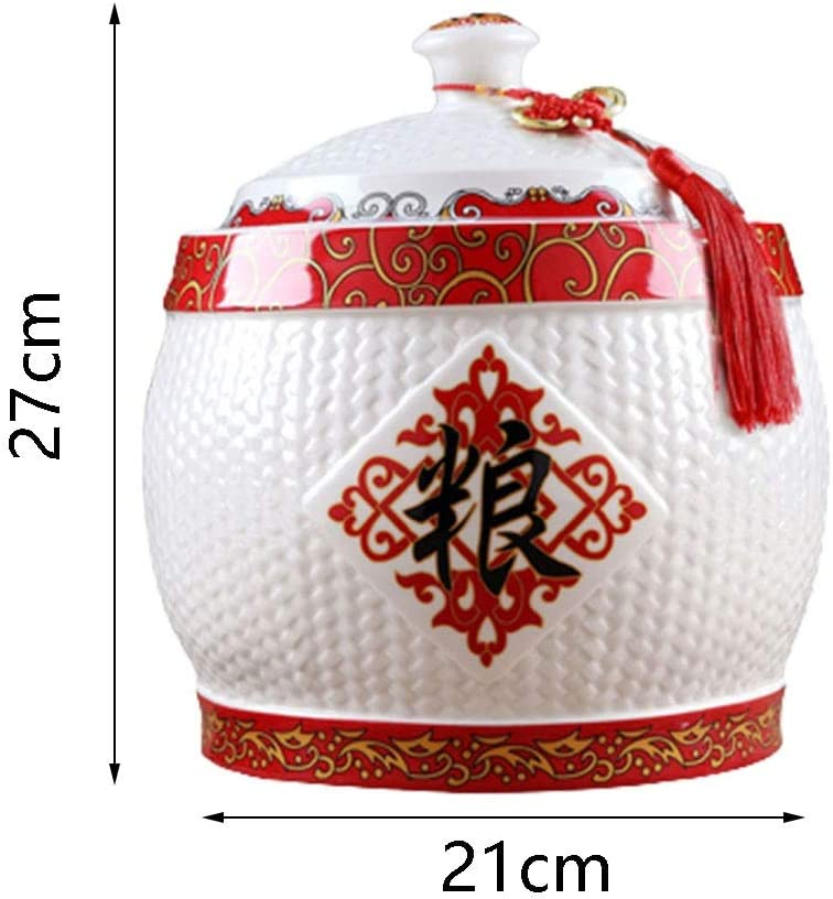 Ceramic Rice Cylinder Household Sealed Rice Bucket With Lid Large Capacity Rice Storage Box Flour Bucket Health And Environmental Protection Color : White, Size : 1624cm