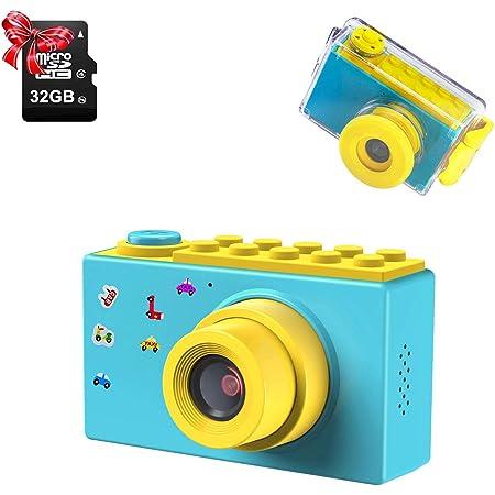 ShinePick Appareil Photo Enfants,Etanche Mini Caméra avec Carte TF 32GB / Zoom numérique 4X / 8MP / Écran LCD TFT de 2 Pouce Caméra Numérique pour Enfants (Bleu)