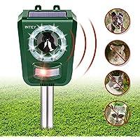 INTEY Repelente de Gatos - Ahuyentador Gatos Repelente ultrasonico para Animales, Gatos, Ratas, Perros, Uso en Exteriores - Sensibilidad y Frecuencia Ajustable
