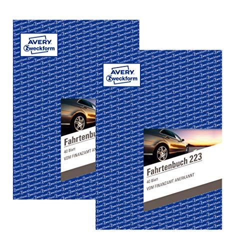 Avery Zweckform 223 Fahrtenbuch - A5, weiß (40 Blatt | PKW | DIN A5, 2 Stück)