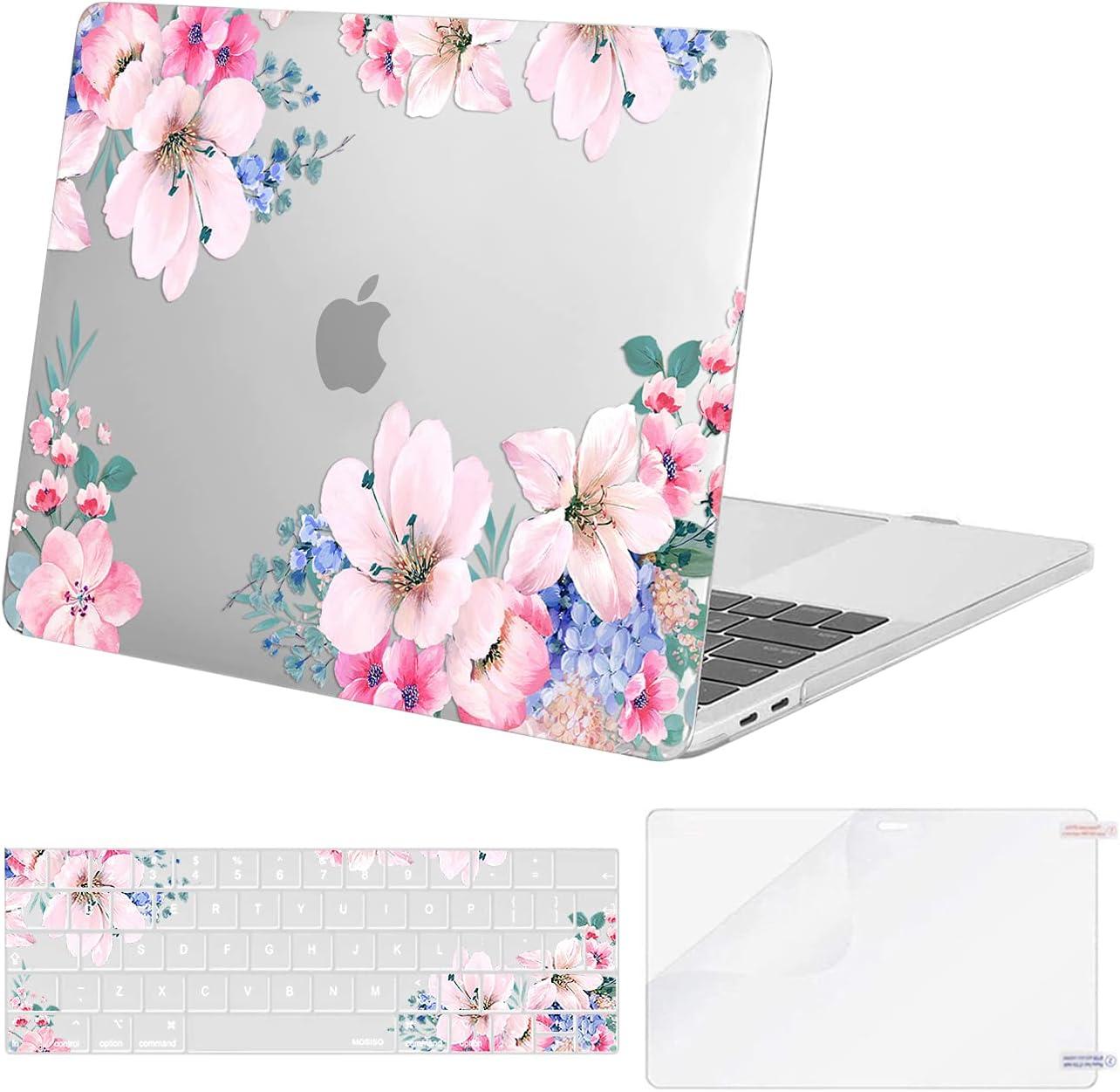 MOSISO Funda Dura Compatible con MacBook Pro 13 2020-2016 M1 A2338 A2289 A2251 A2159 A1989 A1706 A1708,Plástico Prunus Flower Estuche Rígido & Cubierta de Teclado &Protector de Pantalla, Trans