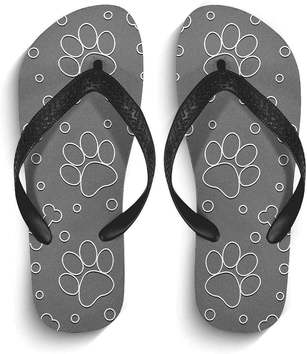 InterestPrint Men's Non-Slip Flip Flops Cute Paw Pattern Thongs Sandals for Beach Lounging Home S