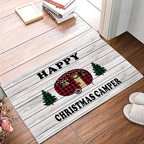 Amanda Walter Felpudo Estera de la Puerta Delantera, Feliz Navidad Buffalo Check Plaid Car Xmas Tree Barn Madera Estera de Bienvenida Estera de la Puerta de Entrada Estera del Piso