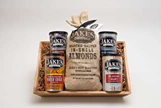 Jake's Nut Roasters Basket with Almonds (5-Flavor Variety Pack Assortment with Reusable Wooden Tray) Whole Dry Roasted Sea...