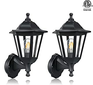 FUDESY 2-Pack Wall Lanterns Outdoor,12W Wired Electric LED Plastic Wall Lights Wall Mount,Waterproof Saving Energy Black Exterior Light Fixtures for Yard,Front Porch,Garage,Garden,FDS616B2