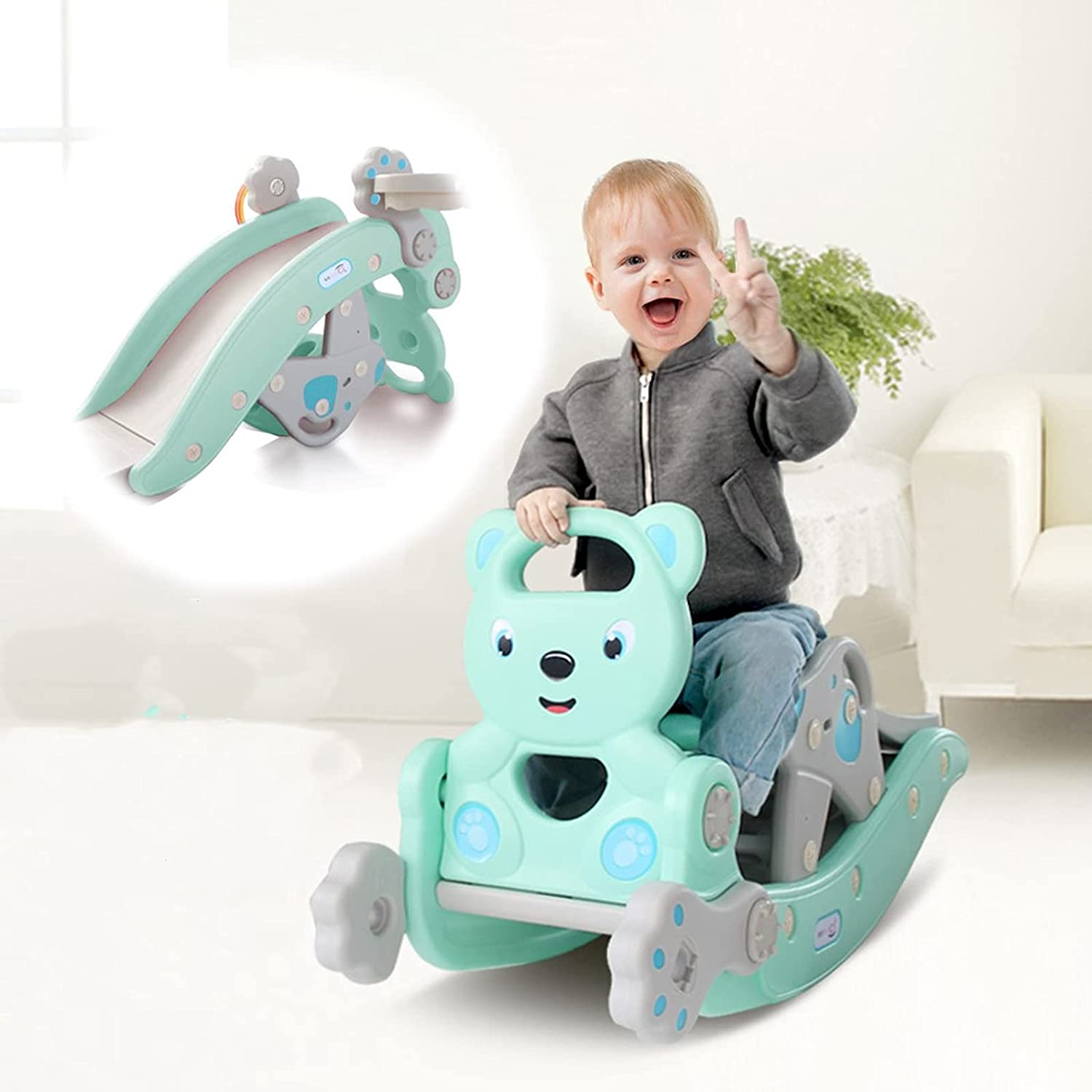 HUZONG Kids Slipping Slide and Rocking Horse Suit: Sit-to-Stand
