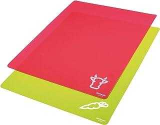 Westmark 2 flexibla skärbrädor, för grönsaker och kött, med tryck, yta: 38 x 30,5 cm, Gripp, röd/grön, 11772250