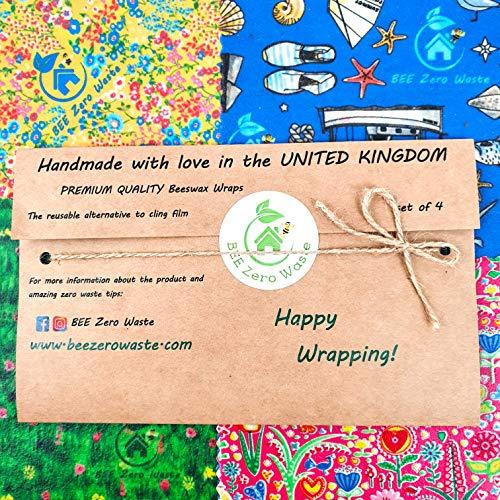 Envolturas de cera de abejas, juego de 4, colores aleatorios, BEE Zero Waste, UK HANDMADE, biodegradable, tapas ecológicas (Juego de 4)