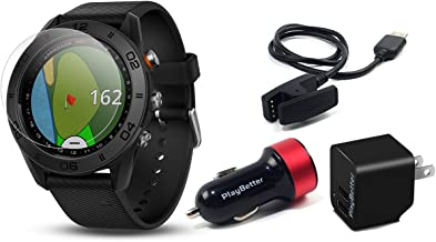 Garmin Approach S60 (Black) Golf GPS Watch Power Bundle   Includes PlayBetter HD Screen Protectors & USB Charging Adapters   Auto-Shot Tracking, 40,000+ Pre-Loaded Courses   010-01702-00