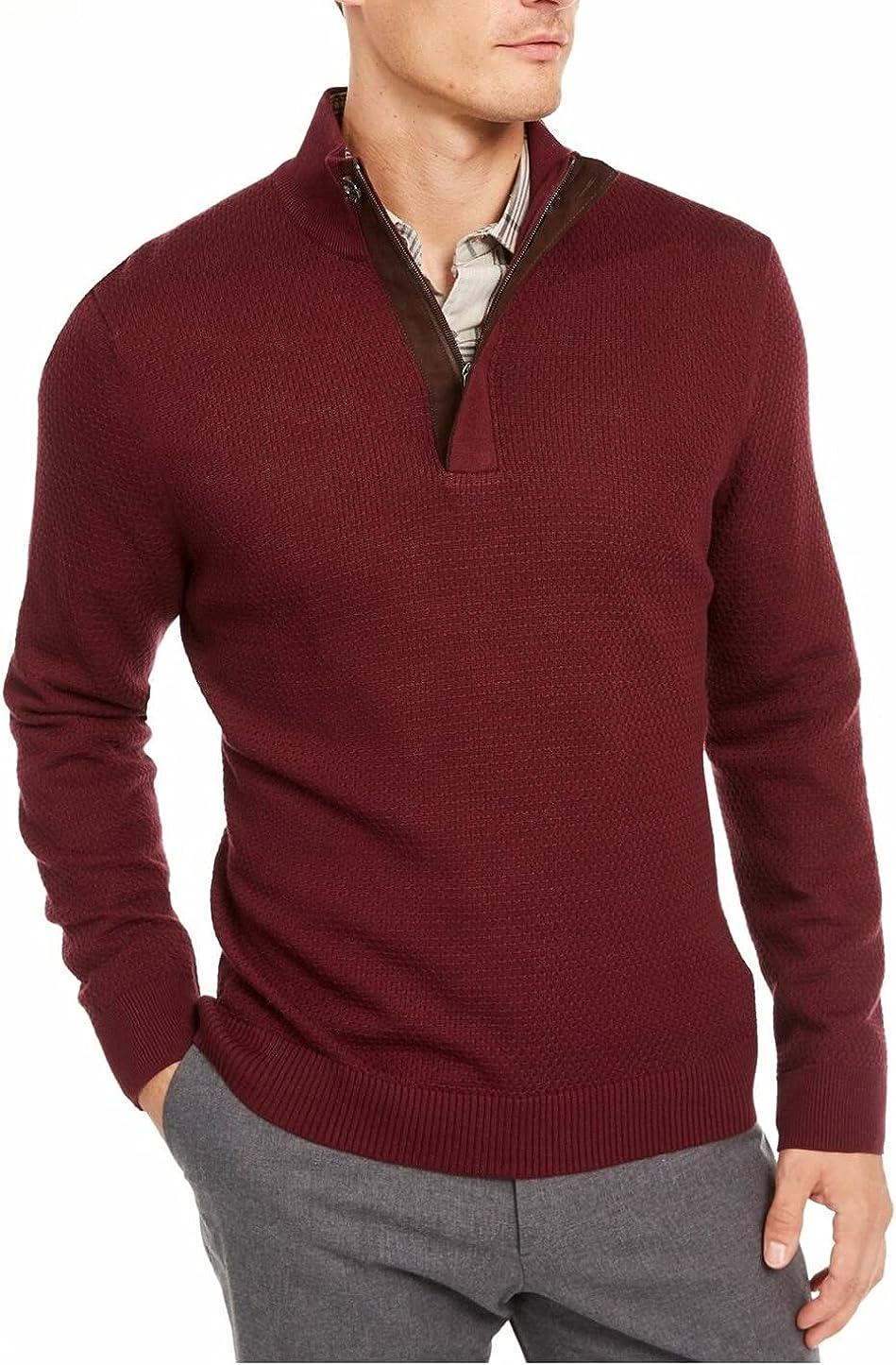 Tasso Elba Mens Sweater Plum Pullover Quarter-Zip Knit Red XL