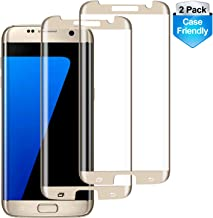 RUXELY S7 Edge Screen Protector (2 Pack), Case-Friendly Tempered Glass,Anti-Scratch,Anti-Bubble,9H Hardness,HD Clear Protective Glass for Samsung Galaxy S7 Edge(Gold)