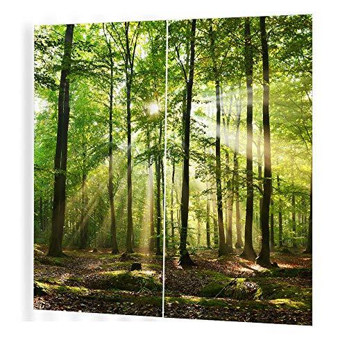 QKDSDM Vorhänge Vorhang Blickdicht Verdunkelungsgardinen Gardinen für Schlafzimmer Kinderzimmer Wohnzimmer 170x200cm 2er Set Psychedelischer Wald