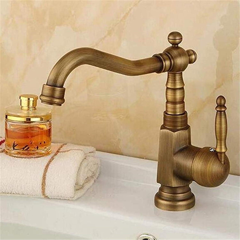 Sink Faucet Basin Faucet Bathroom Sink Faucet Full Copper European Antique Faucet Retro Single Hole Basin Faucet Type Basin Over Hot and Cold Faucet