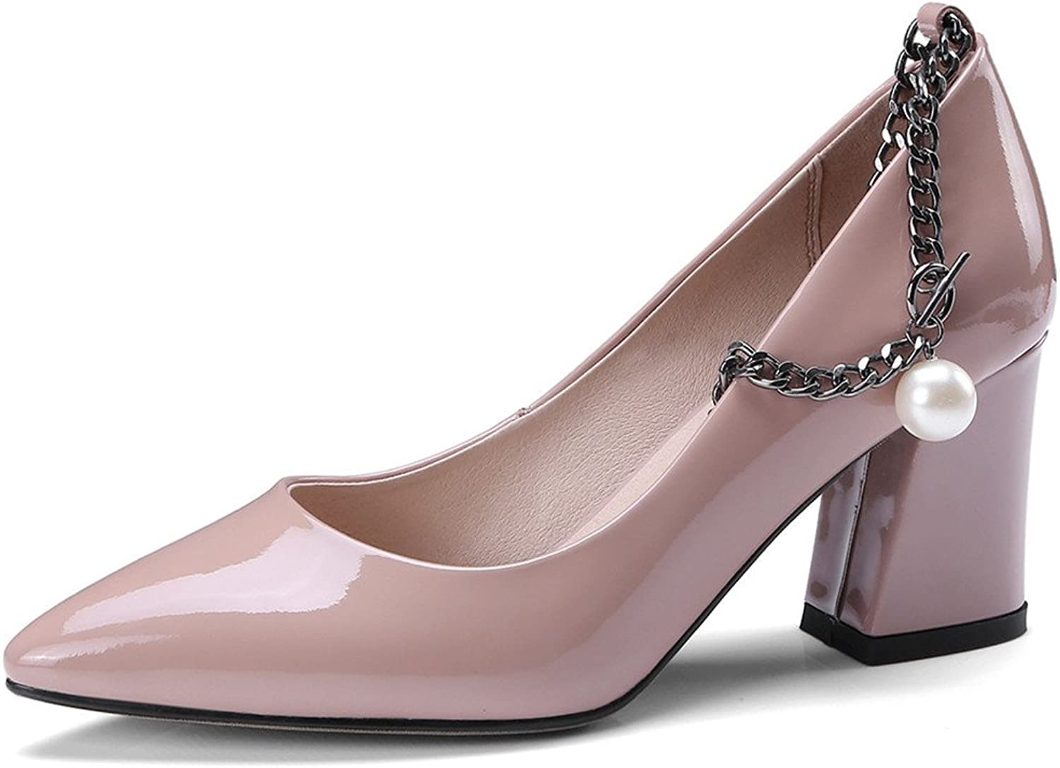 66e3f7a8f9c7d Seven Patent Leather Women's Pointy Toe Block Heel Chains Sexy ...