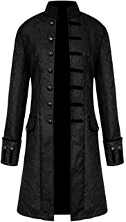 H&ZY Men Steampunk Vintage Jacket Halloween Costume Retro Gothic Victorian Frock Coat Uniform