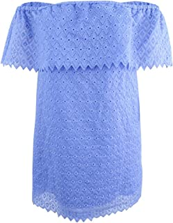 kensie Womens Off-The-Shoulder Eyelet Party Dress