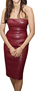 Royale Leather Celebrity Casual Bodycon Cowhide Genuine Leather Sexy Party and Club Women Dress