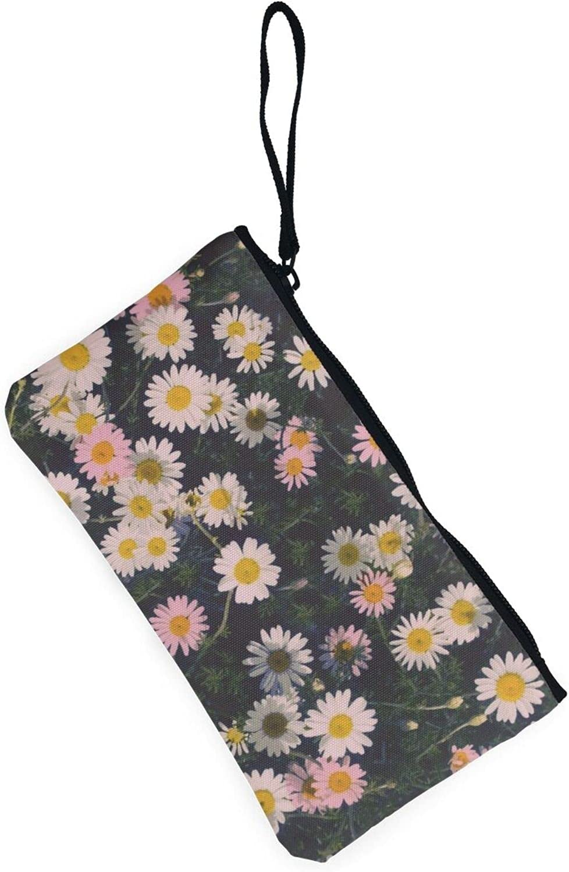 AORRUAM Beautiful Daisies Canvas Coin Purse,Canvas Zipper Pencil Cases,Canvas Change Purse Pouch Mini Wallet Coin Bag