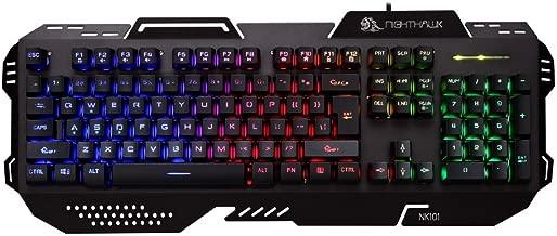 Night Hawk NK101 FPS Gaming Keyboard with 3 color LED (METALLIC SERIES), Black