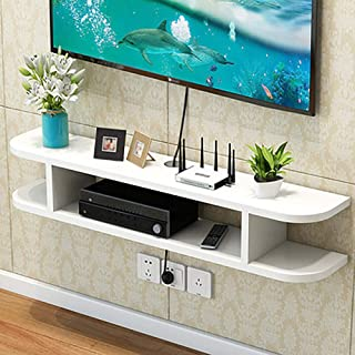 Tv Console Floating, Wood 2 Tier Modern Media Console Wall Mounted Tv Shelf Storage Rack for Cable Boxes Routers Remotes