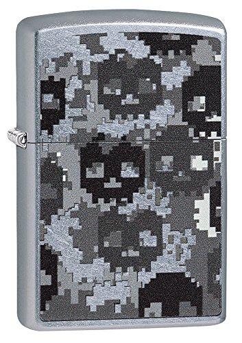 Zippo Pixeles Skull Camo Mechero de Gasolina, latón, Aspecto de Acero Inoxidable, 1x 6x 6cm