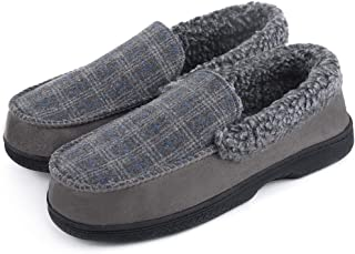 DL Men's Moccasin Slippers Comfy Micro Suede Memory Foam House Shoes with Indoor Outdoor Anti-Skid Rubber Sole