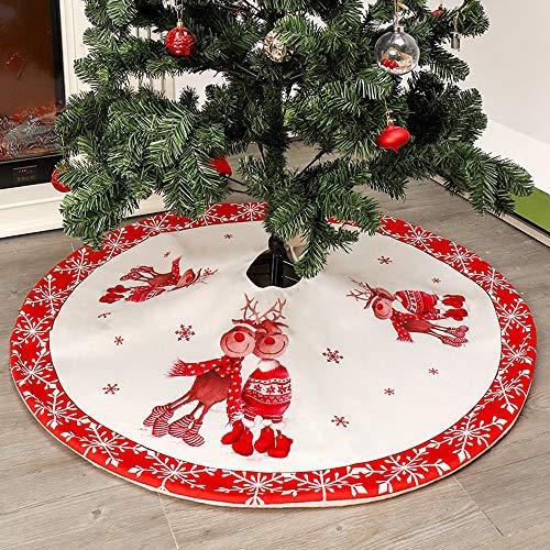 Walant Weihnachtsbaum Röcke, Weihnachtsbaum Bodendekoration Vliesstoff Weihnachtsbaum runde Rock Neujahr Party Ornamente Dekoration für Frohe Weihnachten (Weiß-Eich)