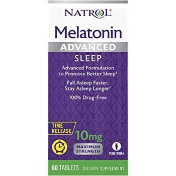 Natrol Melatonin Advanced Sleep Tablets with Vitamin B6, Helps You Fall Asleep Faster, Stay Asleep Longer, 2-Layer Controlled Release, 100% Drug-Free, 10mg, 60 Count