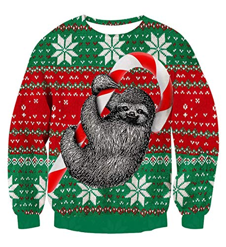 Idgreatim Herren Damen Weihnachtspullover Ugly Christmas Sweater Hässliche Weihnachten Pullover Jumper 3D Gedruckt Langarm Strickpullover, Sloth Green, XXL