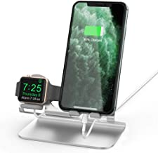 AhaStyle Apple Watch Stand, 2 in 1 Universal Desktop Stand Holder for iPhone and Apple Watch Series 5/4/3/2/1(Silver)