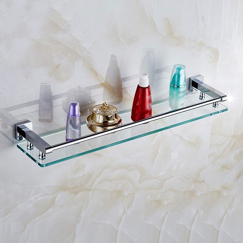 HPLL Bathroom Glass Shelf, All-Copper Tempered Glass Single-Layer Shelf for Bathroom Vanity Bathroom Glass Shelf (Size   40cm 15.7inch)