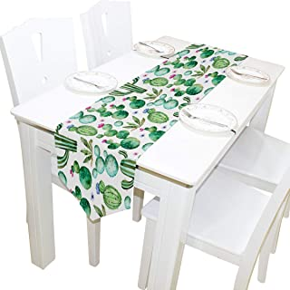 AUUXVA 13x70 inches Long Table Runner Tropical Cactus Pattern Decorative Polyester Table Runners Tablelcoth for Home Coffee Kitchen Dining Table Party Banquet Holiday Decoration