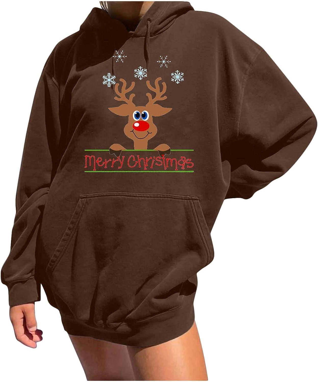 Women Casual Hooded Sweatshirt Award-winning store Christmas Deer Long Slee Printing Classic